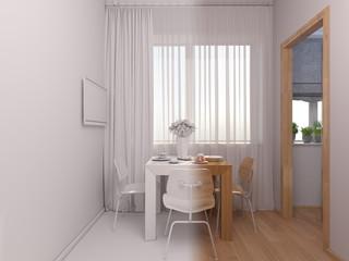 3D visualization of interior design kitchen