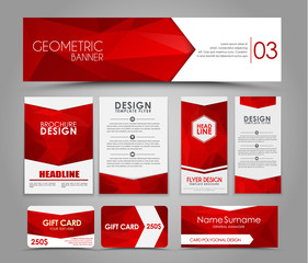 Set of red corporate style polygonal