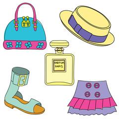 Set of shoes, bag, skirt, hat and perfume bottle on white background. Vector illustration.