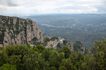 View towards Montserrat Abbey and valley bellow it, Barcelona, S