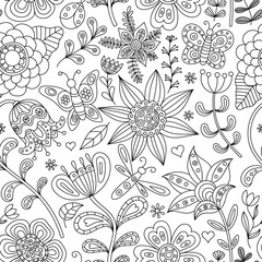 Abstract floral seamless. Hand drawn doodle. Vector illustration