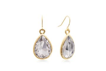 Beautiful White Crystal Teardrop Dangle Earrings in Yellow Gold