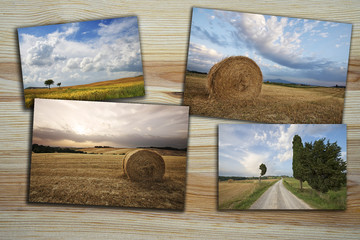 collage of pictures of the Tuscan landscape, these images are in my gallery
