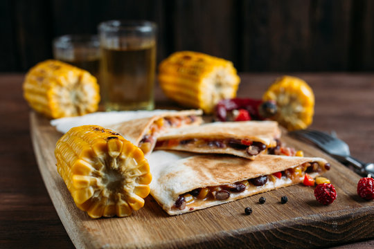 Vegetarian Mexican quesadillas with cheese