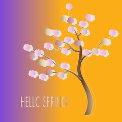Typography banner Hello spring. The tree has a brown trunk, pink flowers, grey shade, pink, yellow, purple gradient background. Greeting card, design element, illustration, vector