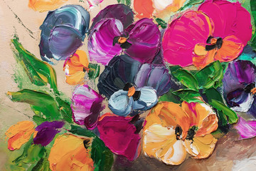 Texture oil painting, flowers, art, painted color image, paint