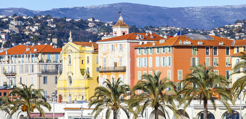 NICE, FRANCE, on JANUARY 13, 2016. City landscape. Promenade des Anglais. Winter day.  Wall mural