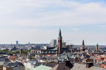 Copenhagen Panoramic View / Copenhagen panoramic view from Amalienborg Palace and its square with roofs and buildings.