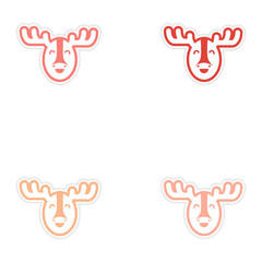 Set of stickers Canadian moose on white background