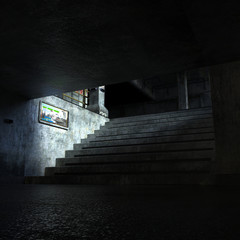 industrial area with stairs leading to the technical Department in the dim light