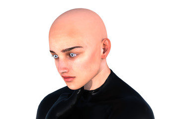 one young bald man posing in a latex suit on colored background