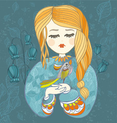 Girl with bird. Decorative vector illustration for greeting card