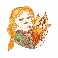 Young girl with a cat. Yellow, green and red vector character