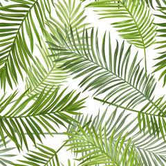 Foto op Canvas Tropische Bladeren Seamless Tropical Palm Leaves Background - for design, scrapbook