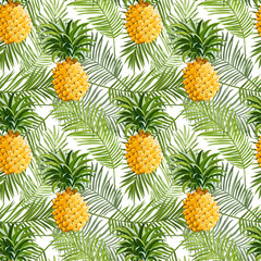 Tropical Palm Leaves and Pineapples Background - Seamless Pattern
