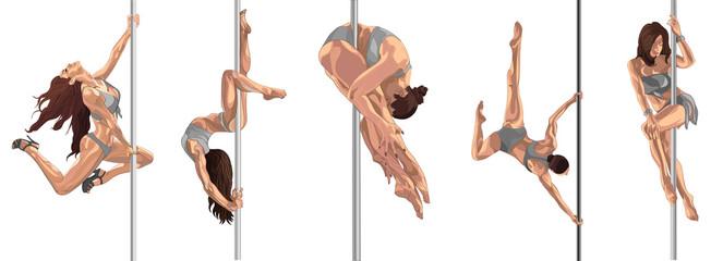 Flexible woman pole dancer on the pole