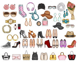 Collecton of different woman's fashion accessories - Bags, hats, shoes, jewels