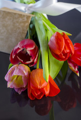 tulips with greeting card