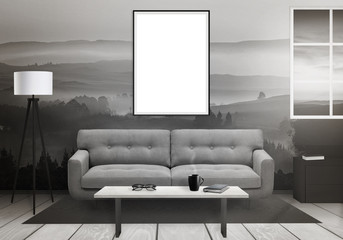 Isolated vertical art frame on wall. Window, sofa, lamp, plant, glasses, book, coffee on table in living room interior.