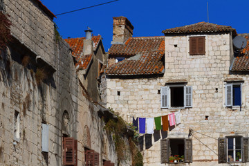 Old buildings witn open windows  in Split, Croatia.