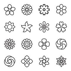 Linear flower icons. Vector illustration
