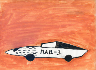 Old childrens paint drawing depicting the car of the future on a red background