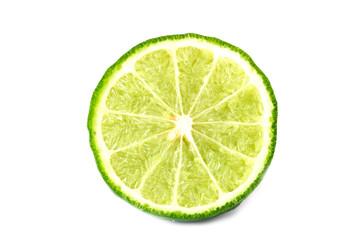 Slice bergamot fruit on a white background