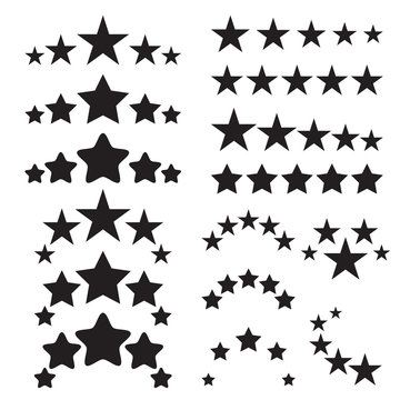 Five stars icons. Five-star quality icons. Five star symbols. Black icons isolated on a white background. Vector illustration