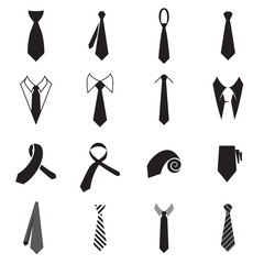 Necktie icons. Collection of men's tie icons isolated on a white background. Vector illustration