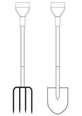 Vector illustration of a garden pitchfork and shovel