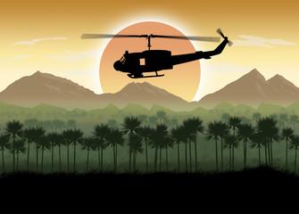 Vietnam War era US Helicopter in Jungle circa 1960's
