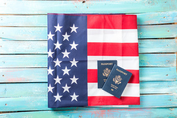 Folded American Flag with Passports