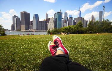 Red sneakers in green grass