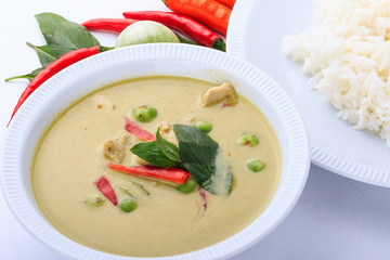 Thai traditional and popular food, Thai chicken green curry intense soup. (Kaeng Khiao Wan Kai)