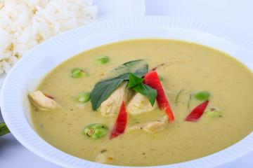 Thai traditional and popular food, Thai chicken green curry intense soup. (Kaeng Khiao Wan Kai)