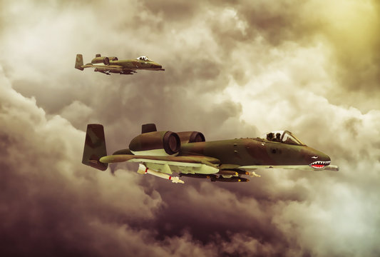 Digital painting of modern military aircraft. A-10 tank buster.