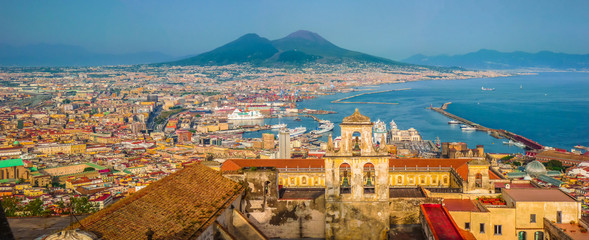 Fotobehang Napels City of Naples (Napoli) with Mt Vesuvius at sunset, Campania, Italy