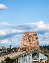 Pattullo Bridge at sunny day and cloudy sky