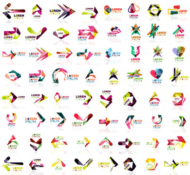 Set of geometric design arrow icons