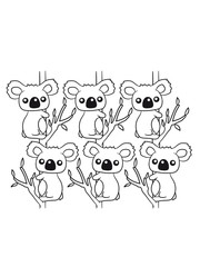 many sweet little cute koalas grapple buddies team pattern of eucalyptus tree