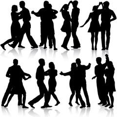 Black silhouettes Dancing on white background. Vector illustrati