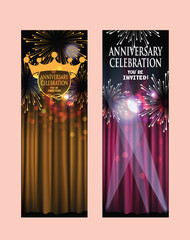 ANNIVERSARY CELEBRATION INVITATION BANNERS WITH THEATER CURTAINS AND FIREWORKS