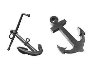 Old two steel anchor isolated on a white background. This has clipping path.