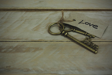 Antique keys on wooden background
