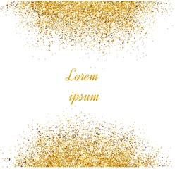 Abstract gold background. Gold background for card. Gold glitter. Gold sparkles on white background.