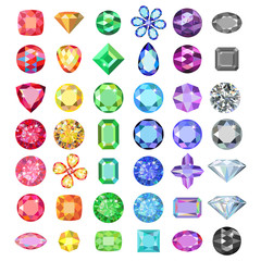 Popular low poly colored gems cuts set gradation by color of the