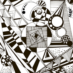 Abstract black and white geometric pattern with lines, circles, hatches, triangles, rings