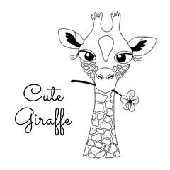 Cute Hand-drawn Cartoon Giraffe Holding a Flower
