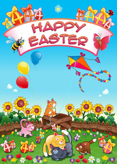 Happy Easter card with funny cats and eggs