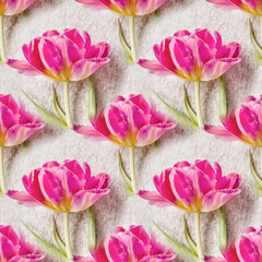 Seamless pattern with beautiful tulip flowers. Floral seamless background. Floral spring ornament. Fashion fabric texture
